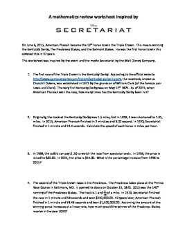 Disney's Secretariat Math Review Worksheet