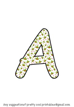 Printable display bulletin letters numbers and more: Christmas Holly