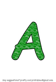 Printable display bulletin letters numbers and more: Christmas Green