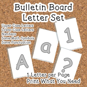 Printable display bulletin letters numbers and more: Grey Silver Solid