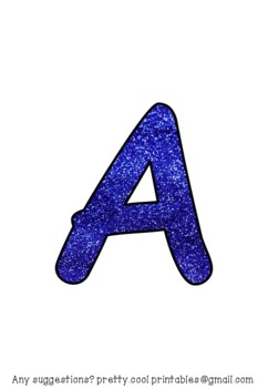 Printable display bulletin letters numbers and more: Blue Glitter