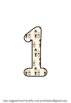 Printable display bulletin letters numbers and more: Thanksgiving Pilgrim