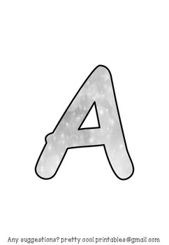 Printable display bulletin letters numbers and more: Silver Sparkly