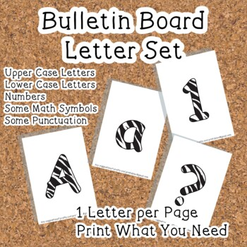 Printable display bulletin letters numbers and more: Zebra Animal