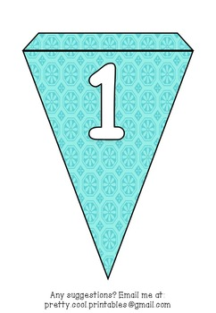 Printable bunting display bulletin letters numbers and more: Blue