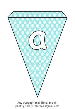 Printable bunting display bulletin letters numbers and more: Blue Smiley