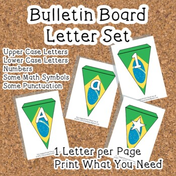 Printable bunting display bulletin letters numbers and more: Brazil Flag