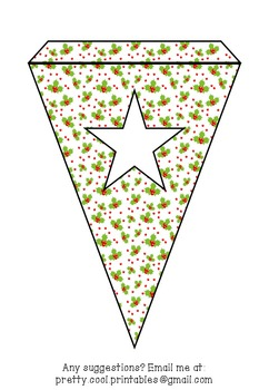 Printable bunting display bulletin letters numbers and more: Christmas Holly