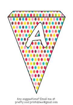 Printable bunting display bulletin letters numbers and more: Bright Dots