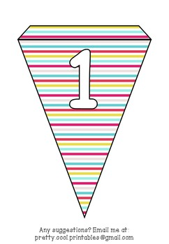 Printable bunting display bulletin letters numbers and more: Bright Stripe