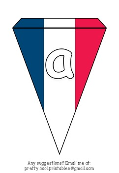 Printable bunting display bulletin letters numbers and more: French Flag