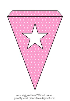 Printable bunting display bulletin letters numbers and more: Pink Polka