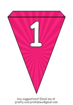 Printable bunting display bulletin letters numbers and more: Pink Stripe