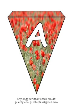 graphic about Poppies Printable identify Printable bunting clearly show bulletin letters figures and far more: Poppy