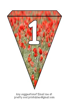 Printable bunting display bulletin letters numbers and more: Poppy