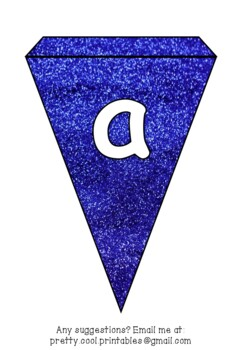 Printable bunting display bulletin letters numbers and more: Blue Glitter