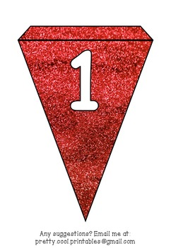 Printable bunting display bulletin letters numbers and more: Red Glitter