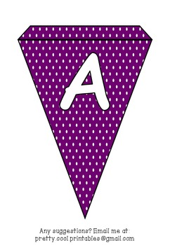 Printable bunting display bulletin letters numbers and more: Purple Polka