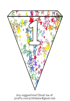 Printable bunting display bulletin letters numbers and more: Rainbow Star