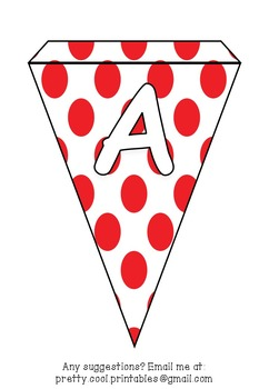 Printable bunting display bulletin letters numbers and more: Red Dots