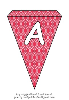Printable bunting display bulletin letters numbers and more: Red Pattern
