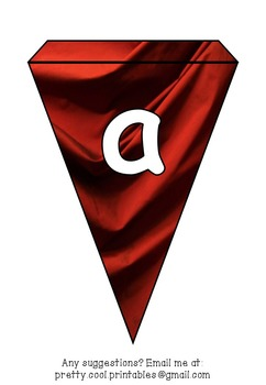 Printable bunting display bulletin letters numbers and more: Red Silk