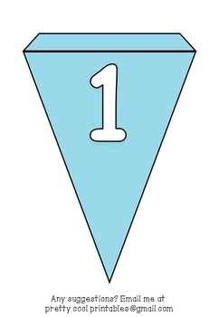 Printable bunting display bulletin letters numbers and more: Solid Blue
