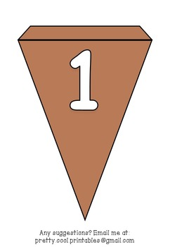 Printable bunting display bulletin letters numbers and more: Solid Brown