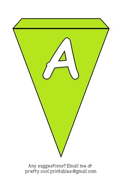 Printable bunting display bulletin letters numbers and more: Solid Green