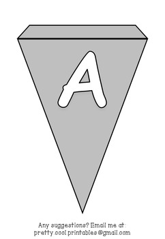 Printable bunting display bulletin letters numbers and more: Solid Grey