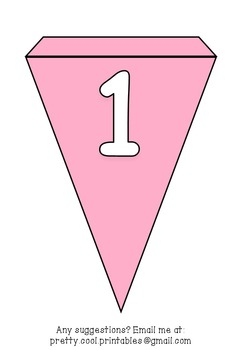 Printable bunting display bulletin letters numbers and more: Solid Pink