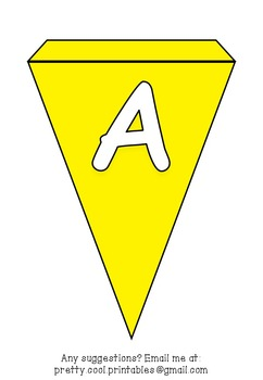 Printable bunting display bulletin letters numbers and more: Solid Yellow
