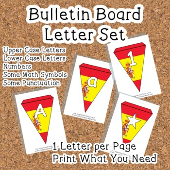 Printable bunting display bulletin letters numbers and more: Spain Flag