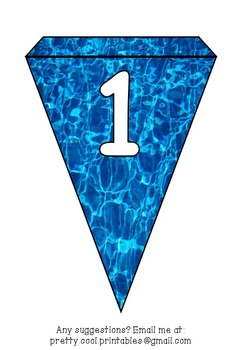 Printable bunting display bulletin letters numbers and more: Swimming