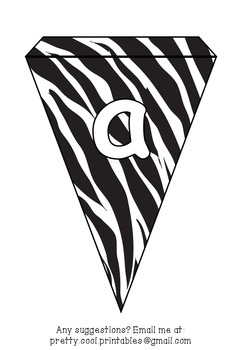 Printable bunting display bulletin letters numbers and more: Zebra