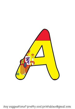 Printable display bulletin letters numbers and more: Spanish Flag