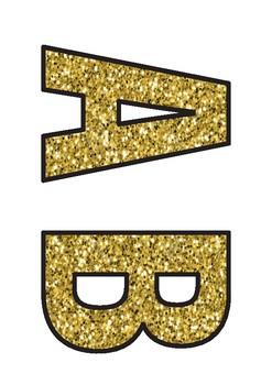 Display Letters - Glitter - Gold - Black outline