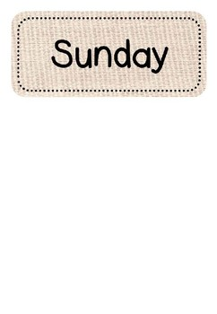 Display Months and Days Labels Natural Burlap