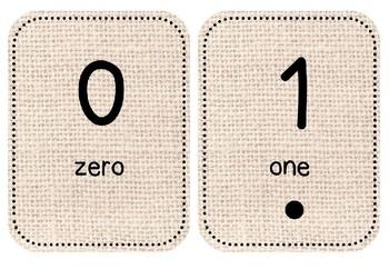 Display Numbers to 20 Natural Burlap