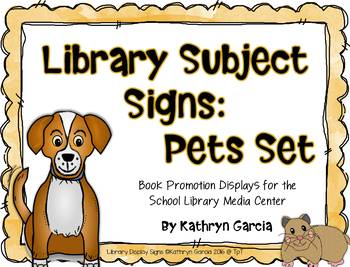 Library Subject Signs for Pets Displays
