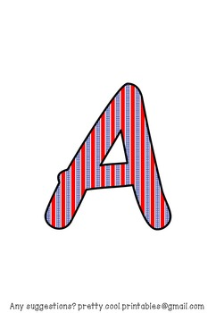 Printable display bulletin letters numbers and more: America July Stripe