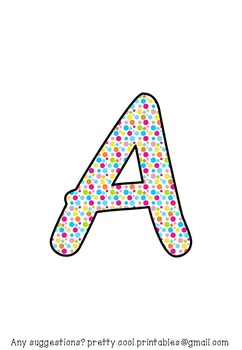 Printable display bulletin letters numbers and more: Rainbow Dots