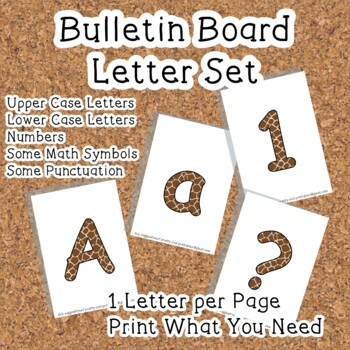 Printable display bulletin letters numbers and more: Animal Print
