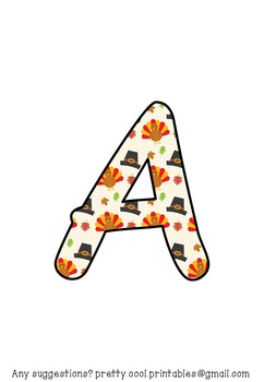 Printable display bulletin letters numbers and more: Thanksgiving Turkey