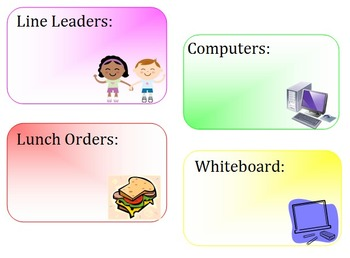 Display Cards/ Labels for Classroom Helpers