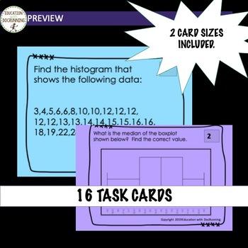 Displaying Data task cards Histogram Box Plot Dot Plot