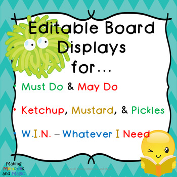Displays - Must Do & May Do, Ketchup & Pickles, W.I.N. (EDITABLE)