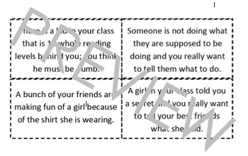 Disrespect Situation Scenario Role Play Cards; Empathy; Drama; WWYouD