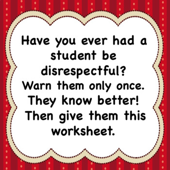 Disrespect Worksheets for First-time, Then Repeat Offenders