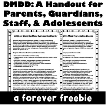 Disruptive Mood Dysregulation Disorder: A Handout for Staff, Parents, & Teens